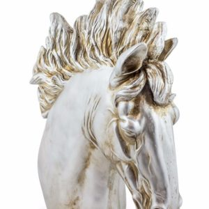 Extra Large Silver Horse Head Statue